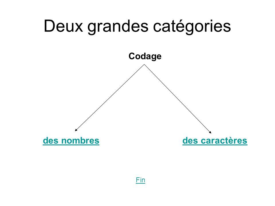 Deux grandes catégories Codage des nombresdes caractères Fin