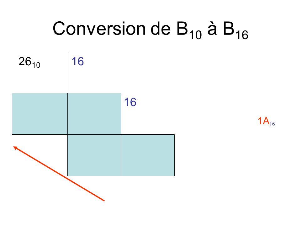 Conversion de B 10 à B 16 26 10 16 10116 10 1A 16
