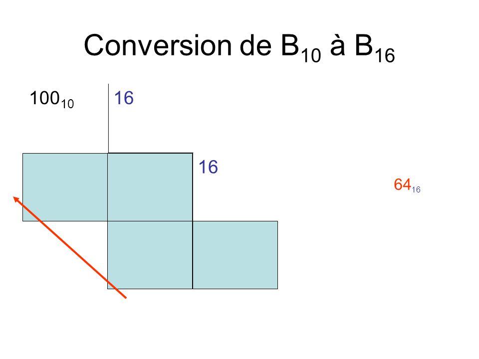 Conversion de B 10 à B 16 100 10 16 46 60 64 16