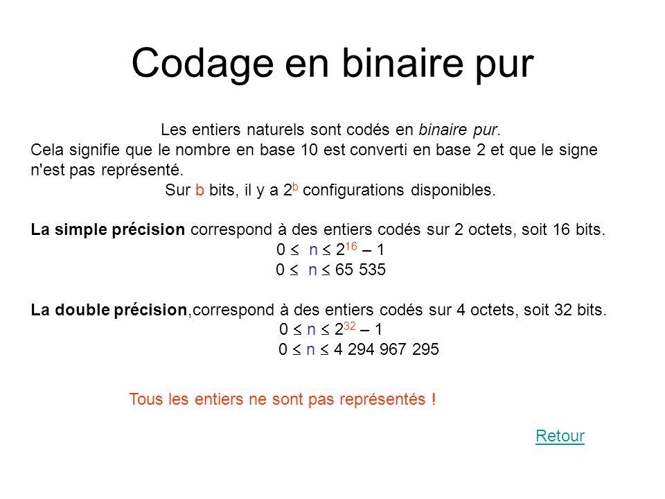 Codage en binaire pur Les entiers naturels sont codés en binaire pur. Cela signifie que le nombre en base 10 est converti en base 2 et que le signe n'