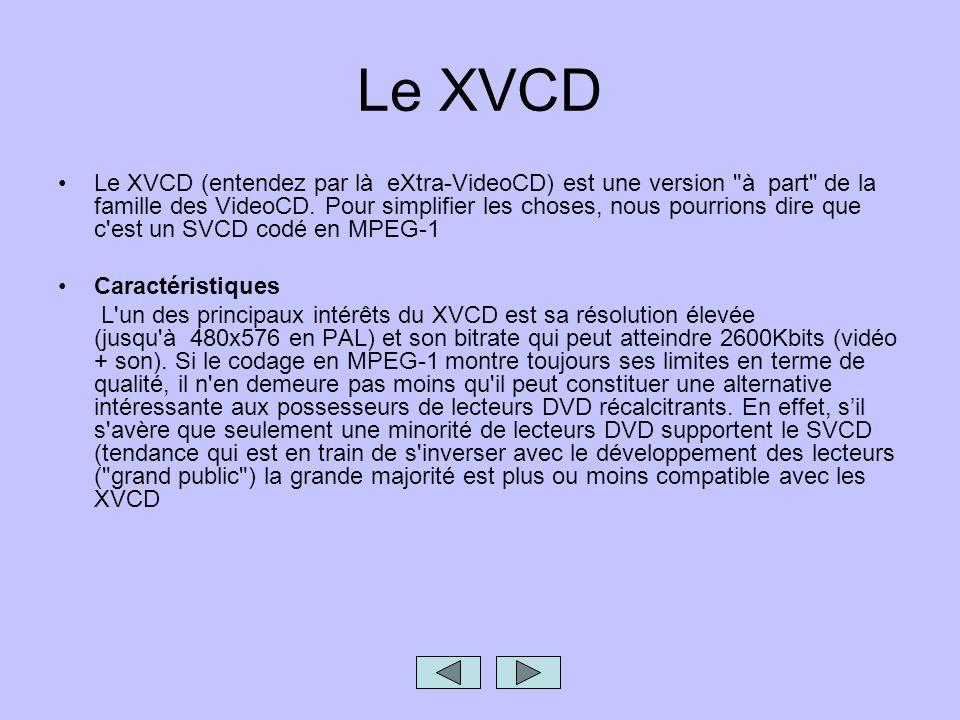 Le XVCD Le XVCD (entendez par là eXtra-VideoCD) est une version