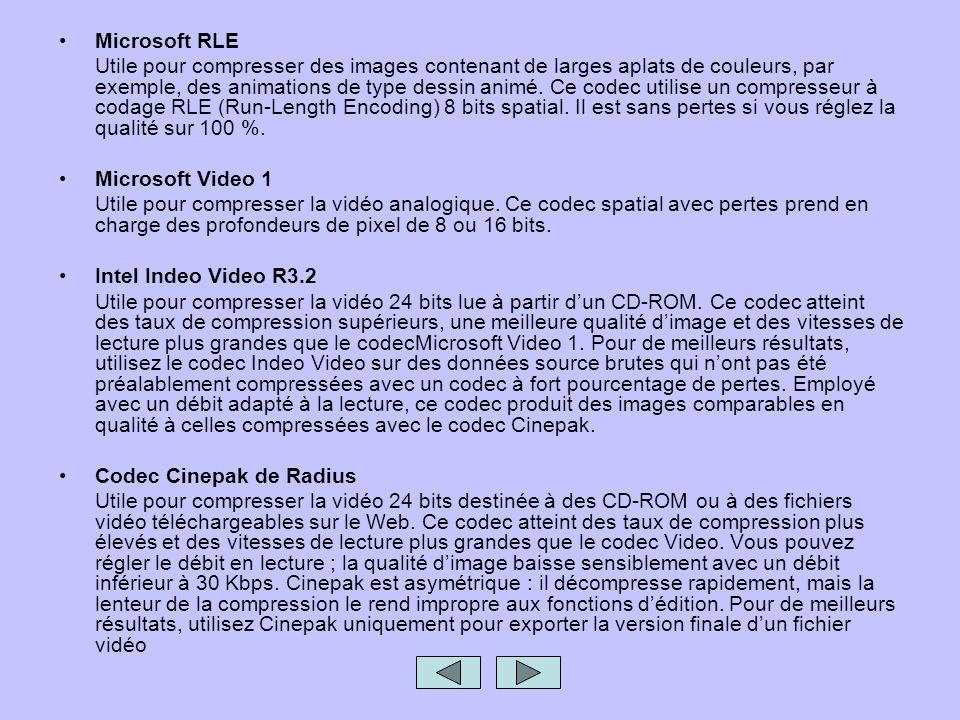 Microsoft RLE Utile pour compresser des images contenant de larges aplats de couleurs, par exemple, des animations de type dessin animé. Ce codec util