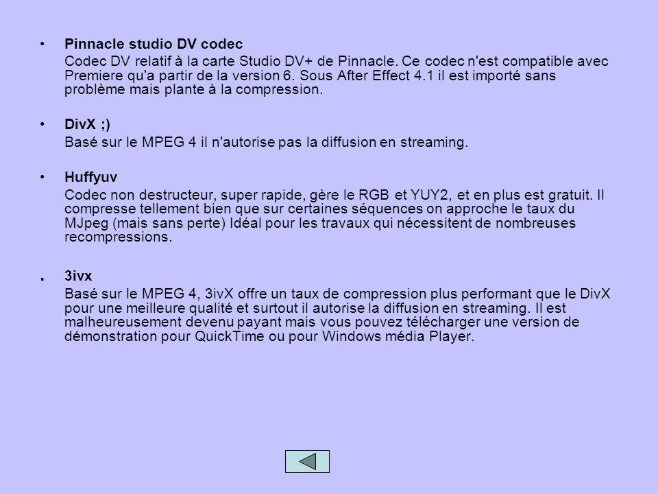 Pinnacle studio DV codec Codec DV relatif à la carte Studio DV+ de Pinnacle. Ce codec n'est compatible avec Premiere qu'a partir de la version 6. Sous