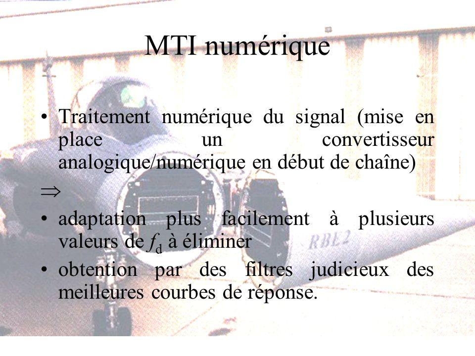 MTI numérique Traitement numérique du signal (mise en place un convertisseur analogique/numérique en début de chaîne) adaptation plus facilement à plusieurs valeurs de f d à éliminer obtention par des filtres judicieux des meilleures courbes de réponse.
