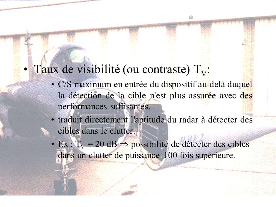 Taux de visibilité (ou contraste) T V : C/S maximum en entrée du dispositif au-delà duquel la détection de la cible n est plus assurée avec des performances suffisantes.