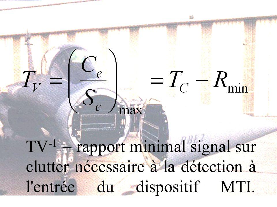 TV -1 = rapport minimal signal sur clutter nécessaire à la détection à l entrée du dispositif MTI.