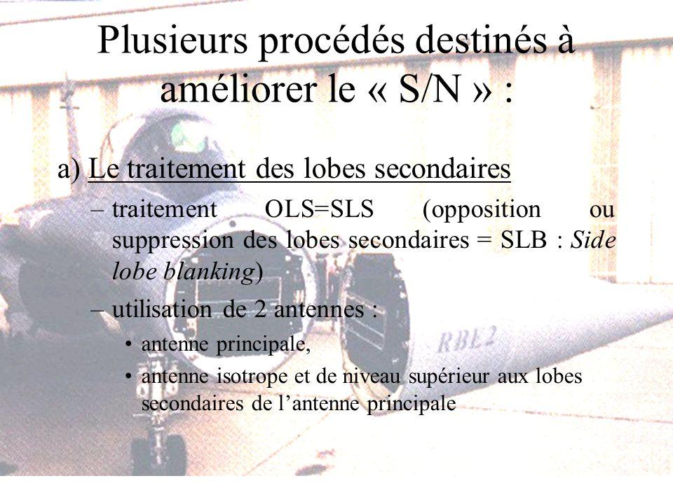 Plusieurs procédés destinés à améliorer le « S/N » : a) Le traitement des lobes secondaires –traitement OLS=SLS (opposition ou suppression des lobes secondaires = SLB : Side lobe blanking) –utilisation de 2 antennes : antenne principale, antenne isotrope et de niveau supérieur aux lobes secondaires de lantenne principale