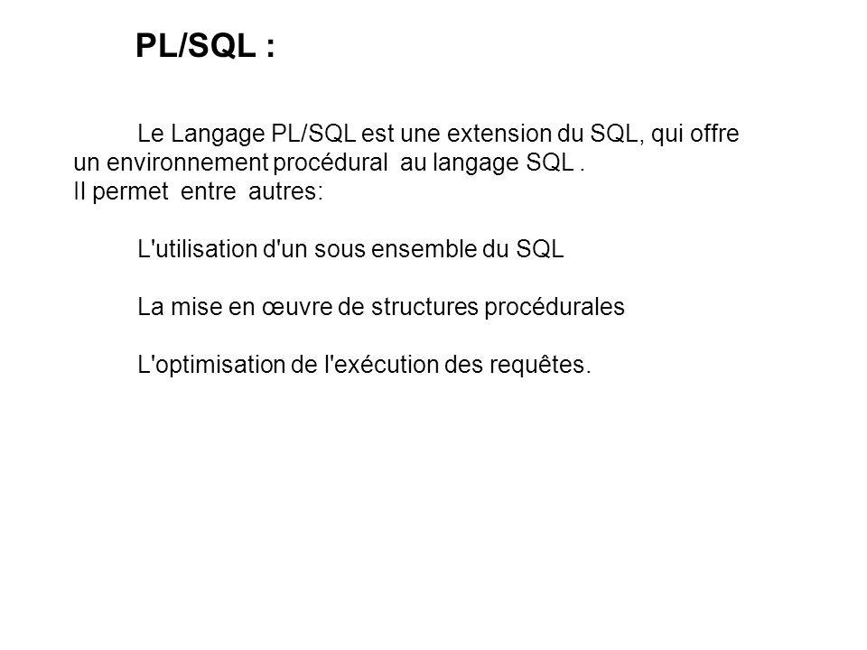 Le Langage PL/SQL est une extension du SQL, qui offre un environnement procédural au langage SQL.