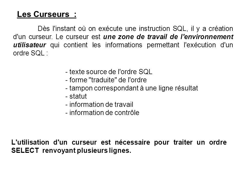 Les Curseurs : Dès l instant où on exécute une instruction SQL, il y a création d un curseur.