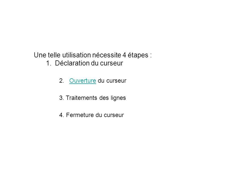 Une telle utilisation nécessite 4 étapes : 1.Déclaration du curseurDéclaration du curseur 2.