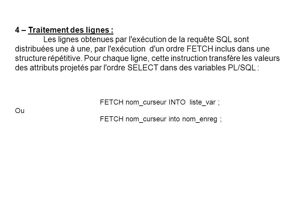 4 – Traitement des lignes : Les lignes obtenues par l exécution de la requête SQL sont distribuées une à une, par l exécution d un ordre FETCH inclus dans une structure répétitive.