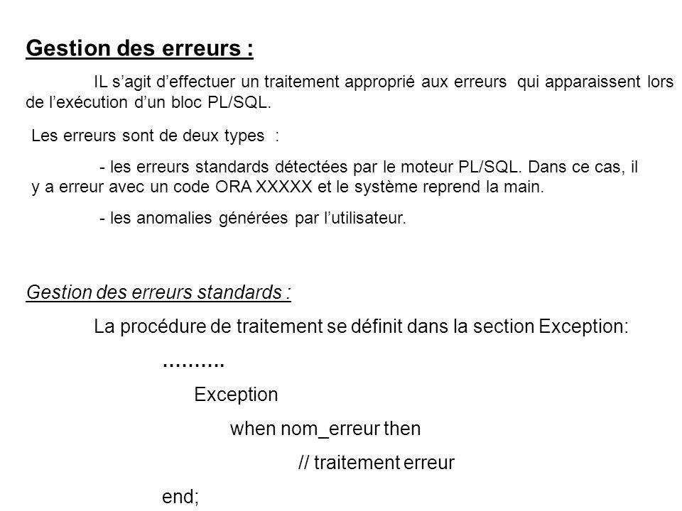 Gestion des erreurs : IL sagit deffectuer un traitement approprié aux erreurs qui apparaissent lors de lexécution dun bloc PL/SQL.