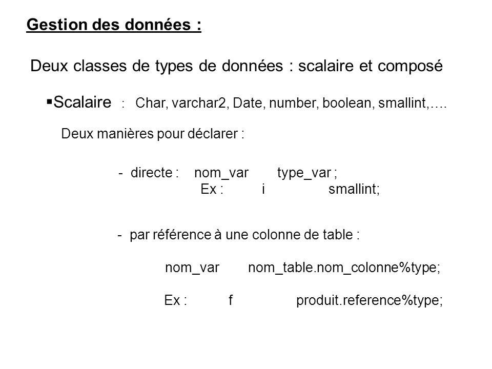 Gestion des données : Deux classes de types de données : scalaire et composé Scalaire : Char, varchar2, Date, number, boolean, smallint,….