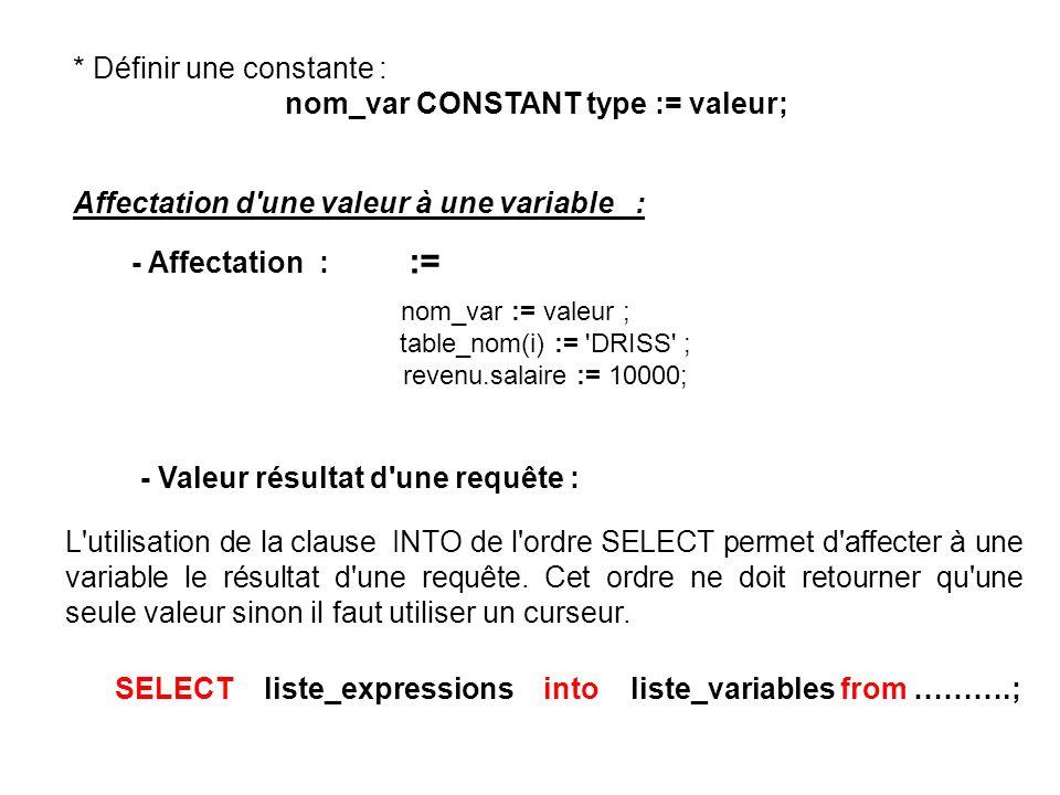 * Définir une constante : nom_var CONSTANT type := valeur; Affectation d une valeur à une variable : - Affectation : := nom_var := valeur ; table_nom(i) := DRISS ; revenu.salaire := 10000; - Valeur résultat d une requête : L utilisation de la clause INTO de l ordre SELECT permet d affecter à une variable le résultat d une requête.