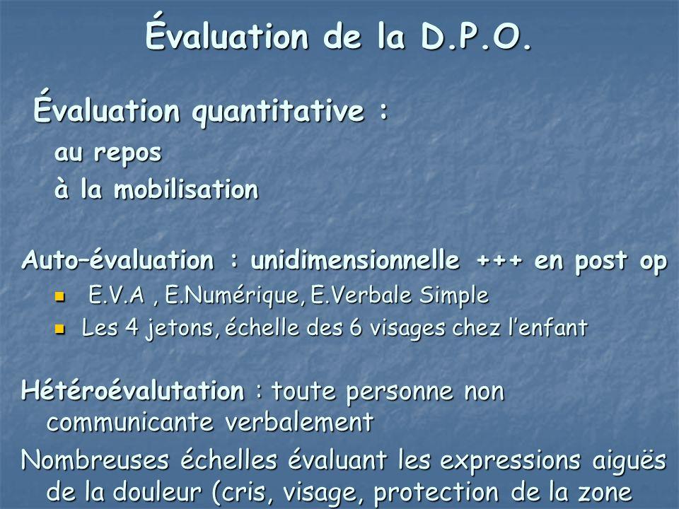 Évaluation quantitative : Évaluation quantitative : au repos à la mobilisation Auto–évaluation : unidimensionnelle +++ en post op E.V.A, E.Numérique,