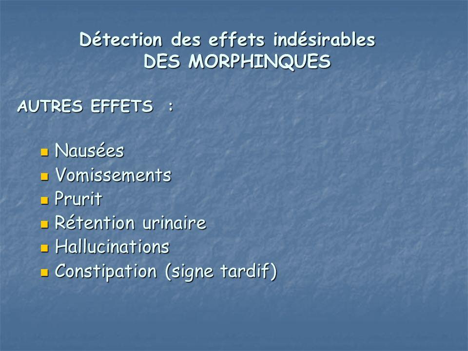 Détection des effets indésirables DES MORPHINQUES AUTRES EFFETS : Nausées Nausées Vomissements Vomissements Prurit Prurit Rétention urinaire Rétention