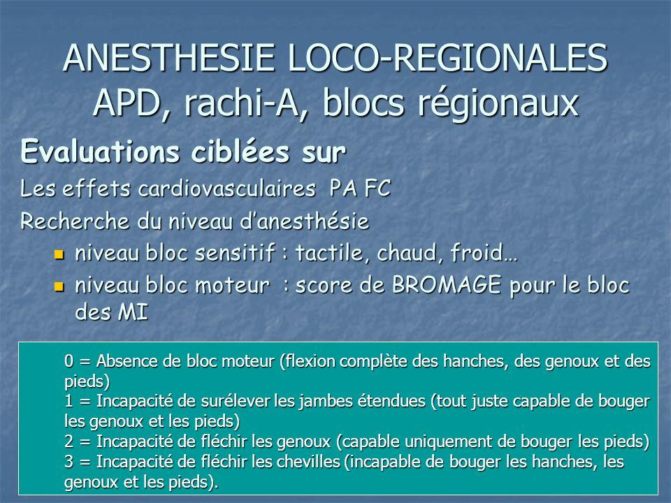 ANESTHESIE LOCO-REGIONALES APD, rachi-A, blocs régionaux Evaluations ciblées sur Les effets cardiovasculaires PA FC Recherche du niveau danesthésie ni