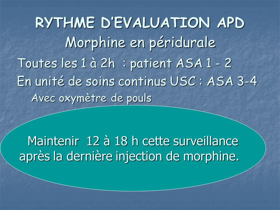 RYTHME DEVALUATION APD Morphine en péridurale Toutes les 1 à 2h : patient ASA 1 - 2 En unité de soins continus USC : ASA 3-4 Avec oxymètre de pouls Ma