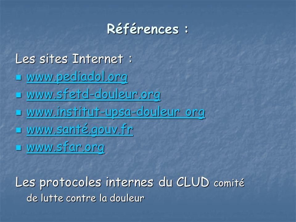 Références : Références : Les sites Internet : www.pediadol.org www.pediadol.org www.pediadol.org www.sfetd-douleur.org www.sfetd-douleur.org www.sfet