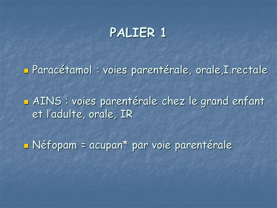 PALIER 1 Paracétamol : voies parentérale, orale,I.rectale Paracétamol : voies parentérale, orale,I.rectale AINS : voies parentérale chez le grand enfa
