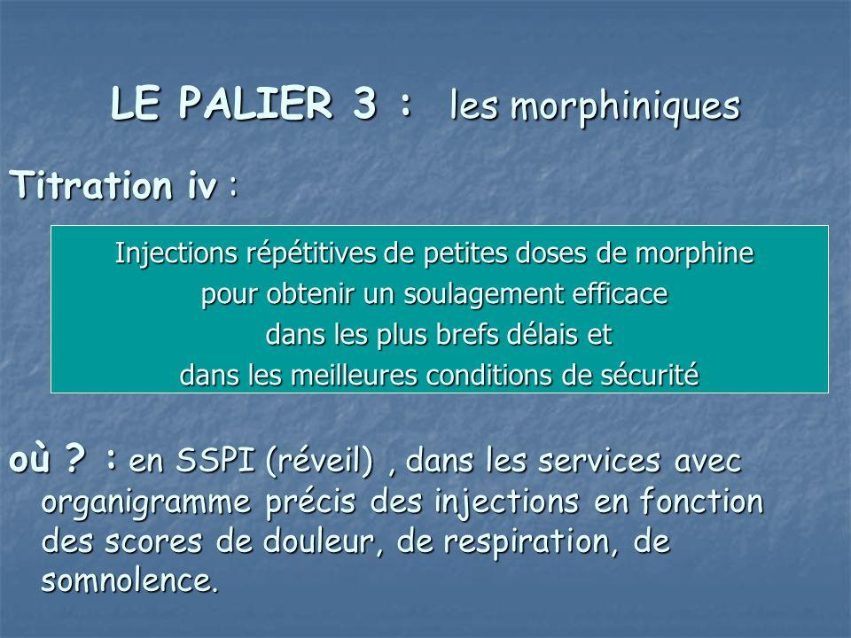 LE PALIER 3 : les morphiniques Titration iv : où ? : en SSPI (réveil), dans les services avec organigramme précis des injections en fonction des score