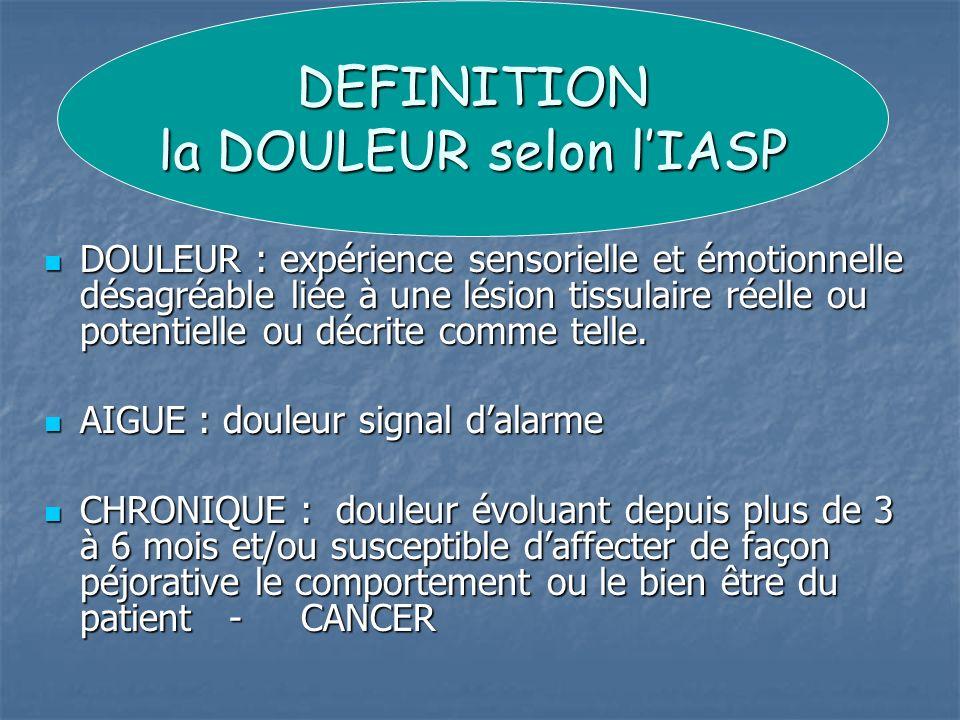 DOULEUR : expérience sensorielle et émotionnelle désagréable liée à une lésion tissulaire réelle ou potentielle ou décrite comme telle. DOULEUR : expé