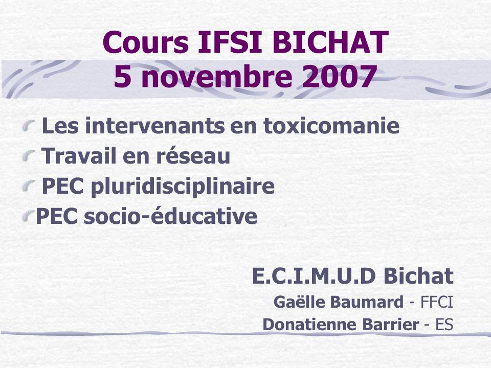 Cours IFSI BICHAT 5 novembre 2007 Les intervenants en toxicomanie Travail en réseau PEC pluridisciplinaire PEC socio-éducative E.C.I.M.U.D Bichat Gaël