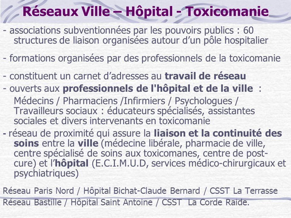 Réseaux Ville – Hôpital - Toxicomanie - associations subventionnées par les pouvoirs publics : 60 structures de liaison organisées autour dun pôle hos