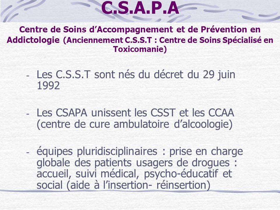 C.S.A.P.A Centre de Soins dAccompagnement et de Prévention en Addictologie (Anciennement C.S.S.T : Centre de Soins Spécialisé en Toxicomanie) - Les C.