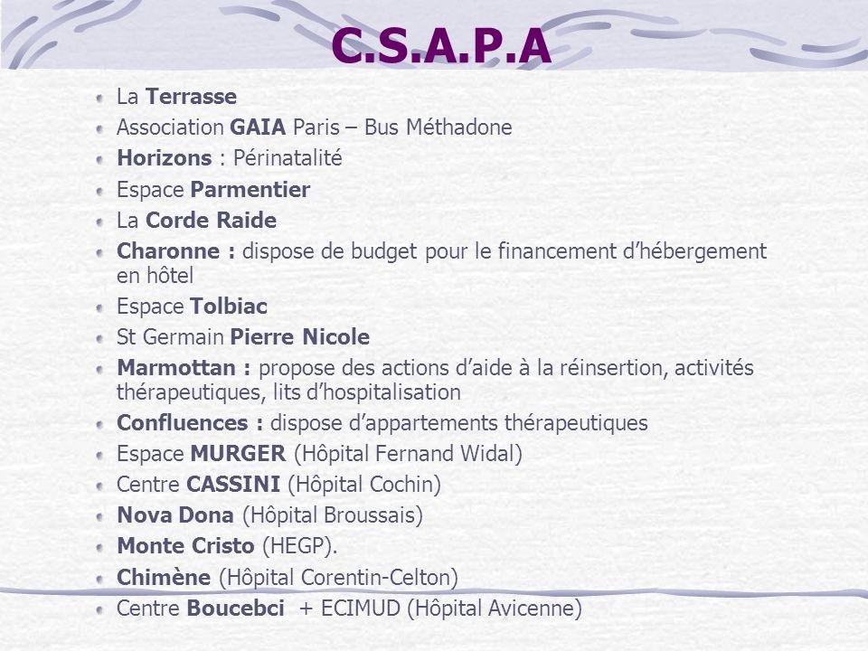 C.S.A.P.A La Terrasse Association GAIA Paris – Bus Méthadone Horizons : Périnatalité Espace Parmentier La Corde Raide Charonne : dispose de budget pou