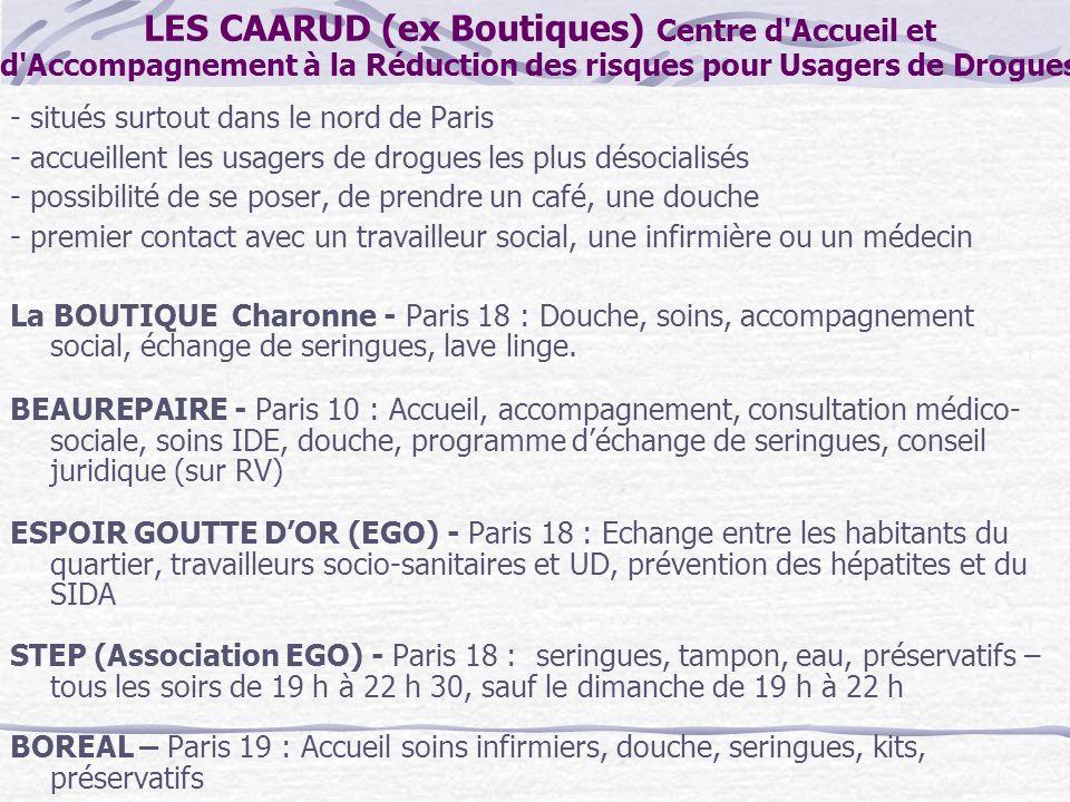 LES CAARUD (ex Boutiques) Centre d'Accueil et d'Accompagnement à la Réduction des risques pour Usagers de Drogues - situés surtout dans le nord de Par