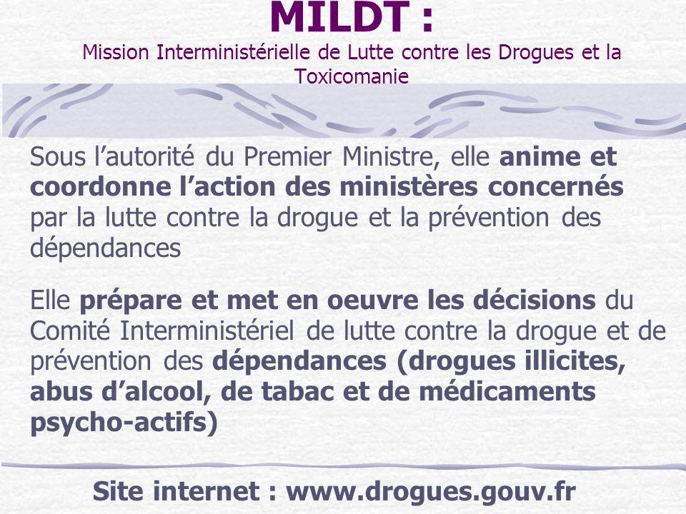 MILDT : Mission Interministérielle de Lutte contre les Drogues et la Toxicomanie Sous lautorité du Premier Ministre, elle anime et coordonne laction d