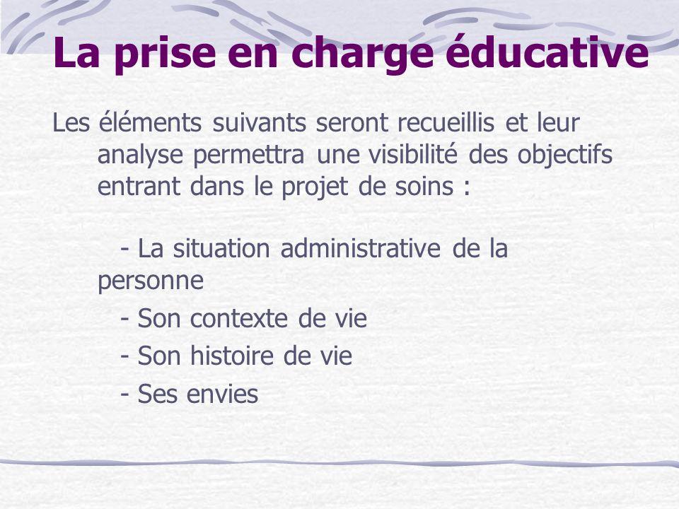 La prise en charge éducative Les éléments suivants seront recueillis et leur analyse permettra une visibilité des objectifs entrant dans le projet de