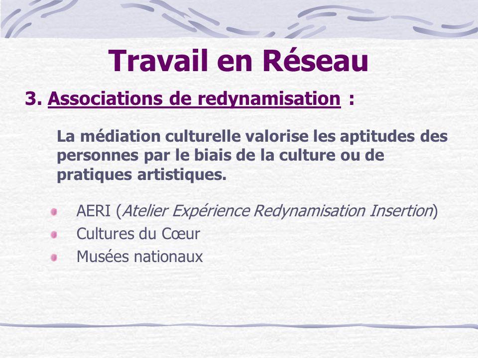 Travail en Réseau 3. Associations de redynamisation : La médiation culturelle valorise les aptitudes des personnes par le biais de la culture ou de pr