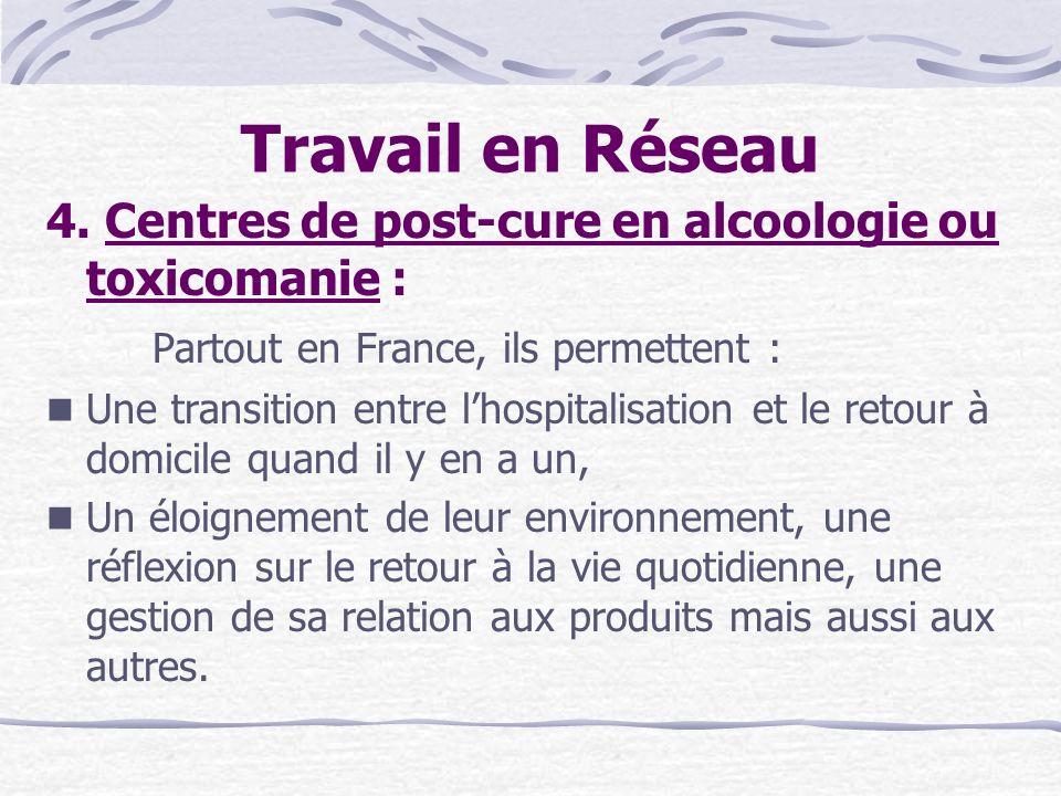 Travail en Réseau 4. Centres de post-cure en alcoologie ou toxicomanie : Partout en France, ils permettent : Une transition entre lhospitalisation et