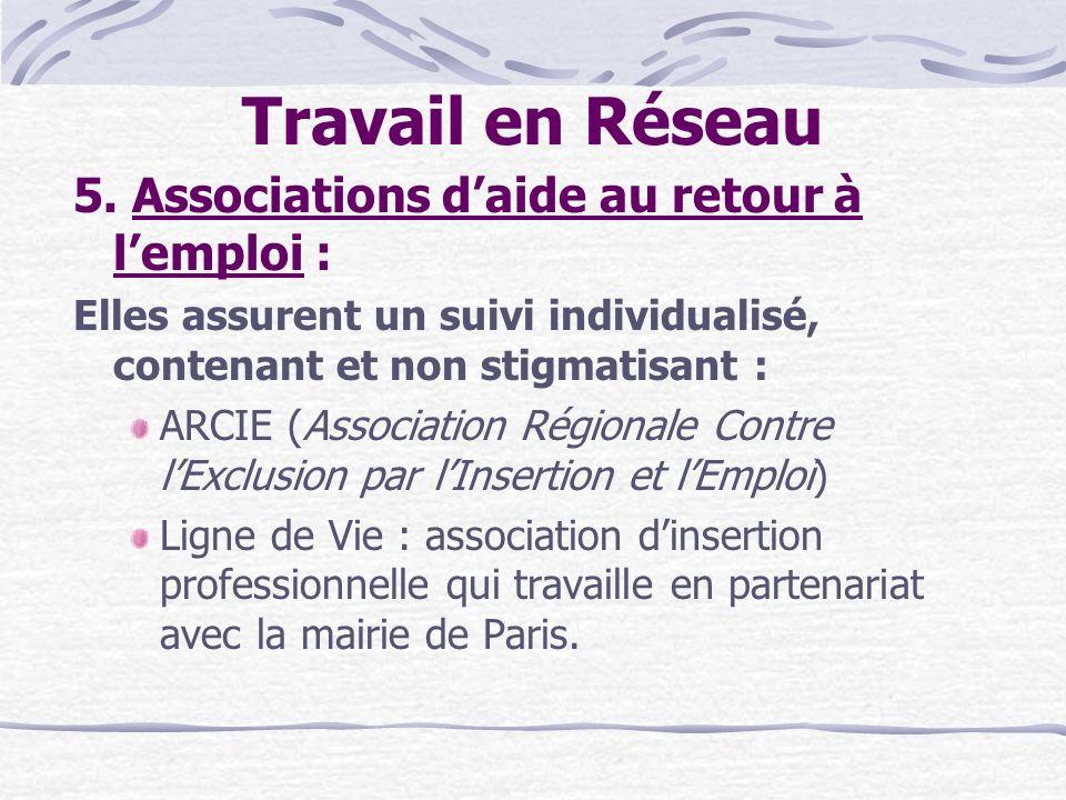 Travail en Réseau 5. Associations daide au retour à lemploi : Elles assurent un suivi individualisé, contenant et non stigmatisant : ARCIE (Associatio