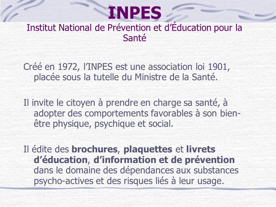INPES Institut National de Prévention et dÉducation pour la Santé Créé en 1972, lINPES est une association loi 1901, placée sous la tutelle du Ministr