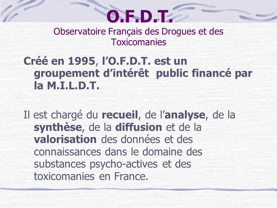 O.F.D.T. Observatoire Français des Drogues et des Toxicomanies Créé en 1995, lO.F.D.T. est un groupement dintérêt public financé par la M.I.L.D.T. Il