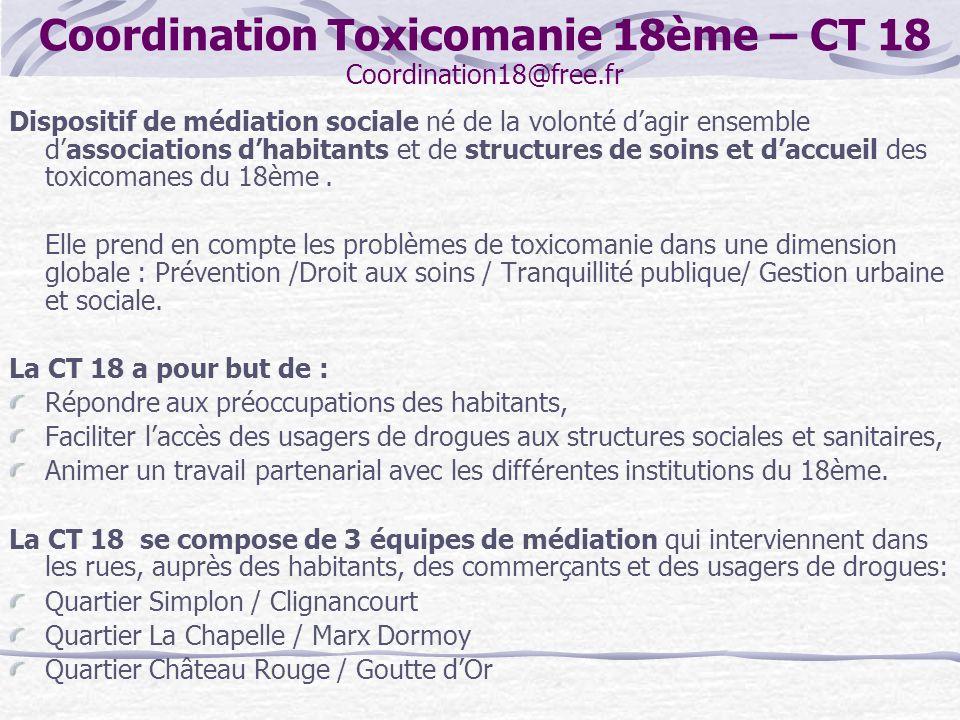 Coordination Toxicomanie 18ème – CT 18 Coordination18@free.fr Dispositif de médiation sociale né de la volonté dagir ensemble dassociations dhabitants