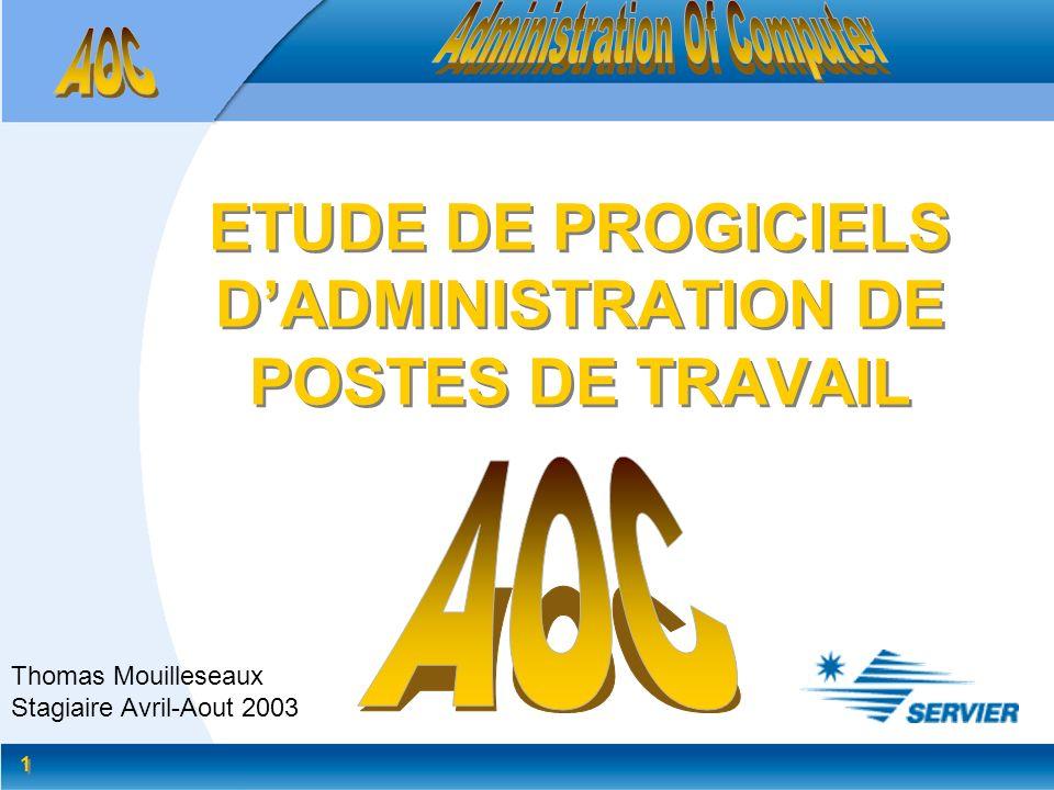 1 1 ETUDE DE PROGICIELS DADMINISTRATION DE POSTES DE TRAVAIL Thomas Mouilleseaux Stagiaire Avril-Aout 2003