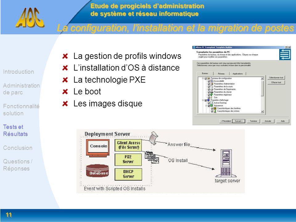 11 La configuration, linstallation et la migration de postes La gestion de profils windows Linstallation dOS à distance La technologie PXE Le boot Les