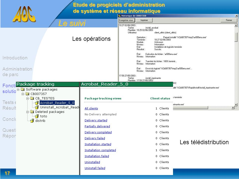 17 Le suivi Etude de progiciels dadministration de système et réseau informatique Introduction Administration de parc Fonctionnalité solution Tests et