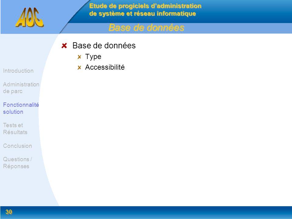 30 Base de données Type Accessibilité Etude de progiciels dadministration de système et réseau informatique Introduction Administration de parc Foncti