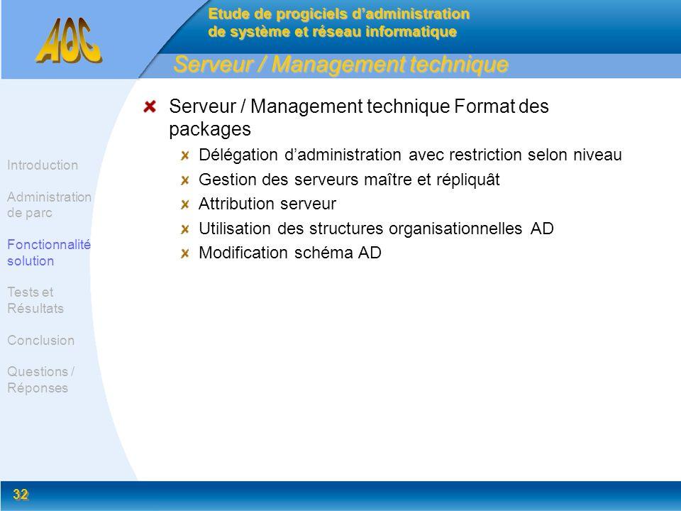 32 Serveur / Management technique Serveur / Management technique Format des packages Délégation dadministration avec restriction selon niveau Gestion