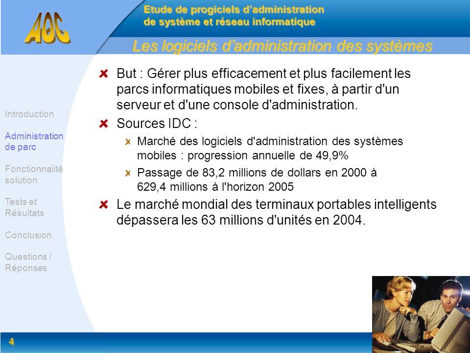 4 4 Les logiciels dadministration des systèmes But : Gérer plus efficacement et plus facilement les parcs informatiques mobiles et fixes, à partir d'u