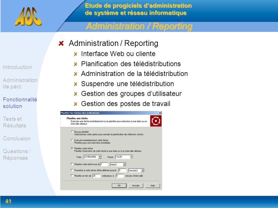 41 Administration / Reporting Interface Web ou cliente Planification des télédistributions Administration de la télédistribution Suspendre une télédis