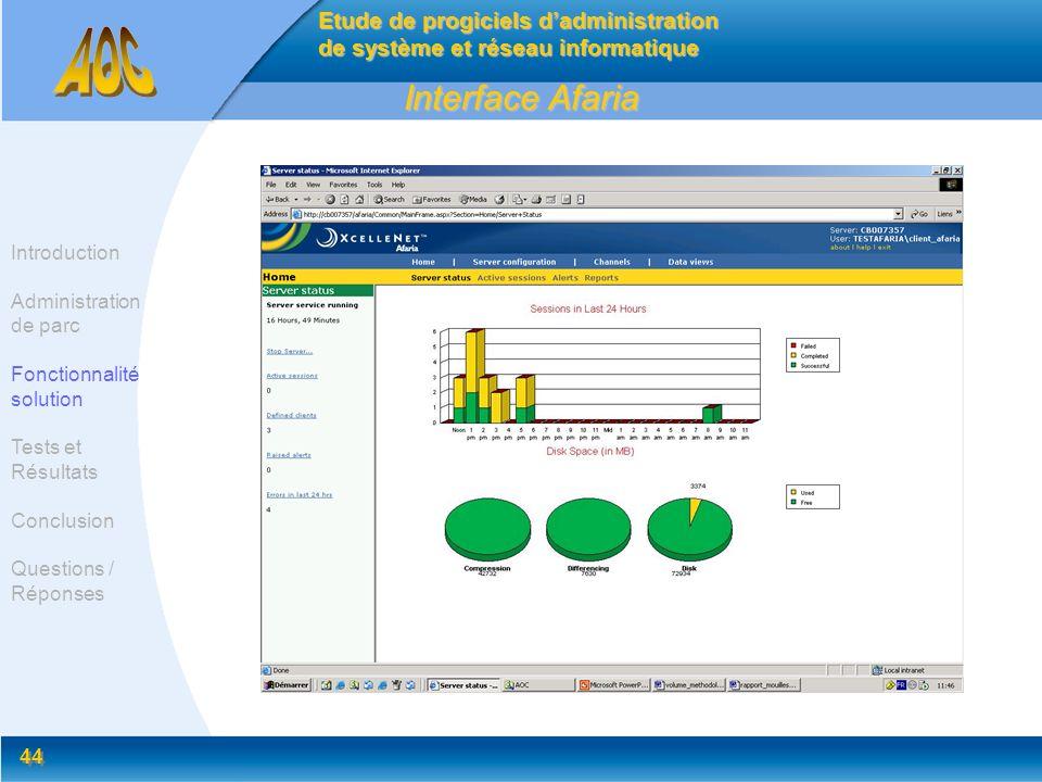 44 Interface Afaria Etude de progiciels dadministration de système et réseau informatique Introduction Administration de parc Fonctionnalité solution
