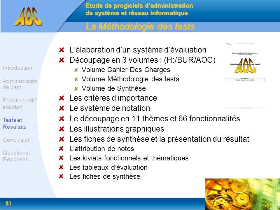 51 La Méthodologie des tests Lélaboration dun système dévaluation Découpage en 3 volumes : (H:/BUR/AOC) Volume Cahier Des Charges Volume Méthodologie