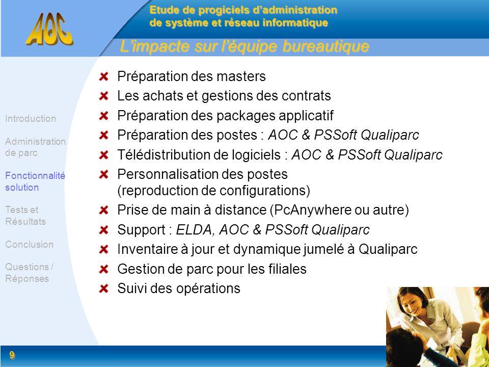 9 9 Limpacte sur léquipe bureautique Préparation des masters Les achats et gestions des contrats Préparation des packages applicatif Préparation des p