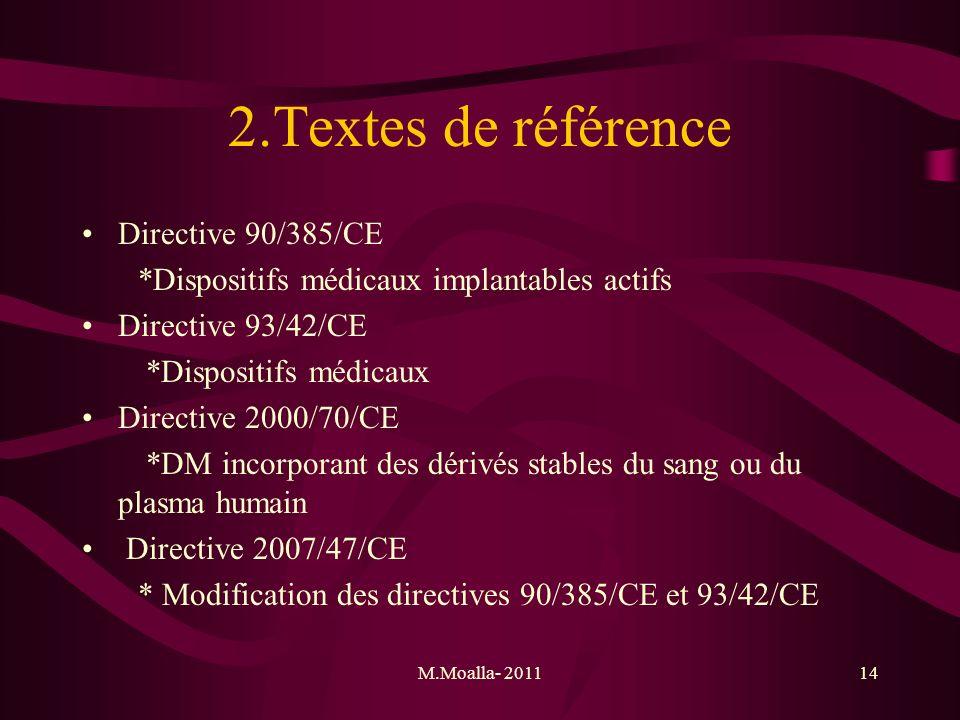 M.Moalla- 201114 2.Textes de référence Directive 90/385/CE *Dispositifs médicaux implantables actifs Directive 93/42/CE *Dispositifs médicaux Directiv
